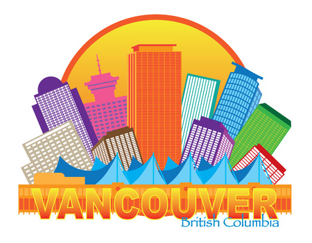 british columbia: Vancouver British Columbia Canada City Skyline Inside Circle Color Illustration