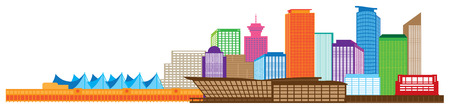 vancouver city: Vancouver British Columbia Canada City Skyline Color Illustration