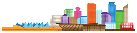 british columbia: Vancouver British Columbia Canada City Skyline Color Illustration
