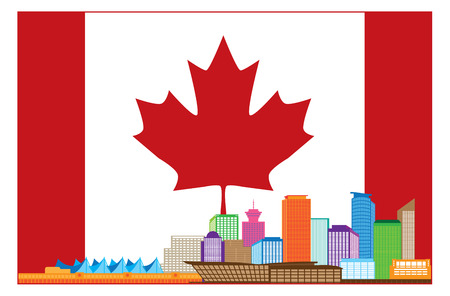 british columbia: Vancouver British Columbia Canada Colorful City Skyline Silhouette in Canadian Flag Illustration