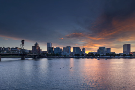 willamette: Portland Oregon Downtown Waterfront City Skyline during Rose Festival at Sunset