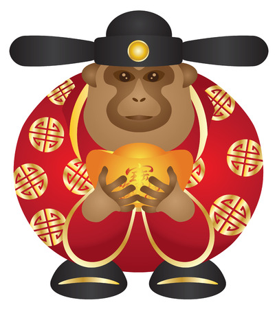 lunar new year: 2016 Chinese Lunar New Year Money God Monkey Zodiac with Gold Bars and Chinese Text Symbol of Money and Treasure Color Illustration