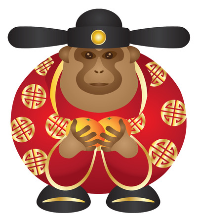 2016 Chinese Lunar New Year Money God Monkey Zodiac with Oranges and Chinese Text Symbol of Longevity Color Illustration