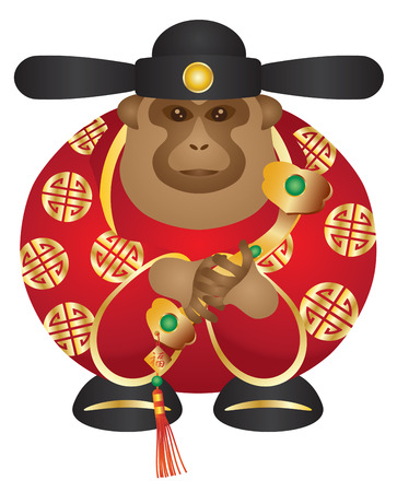 scepter: 2016 Chinese Lunar New Year Money God Monkey Zodiac with Ruyi Scepter and Chinese Text of Money and Prosperity on Tag Color Illustration