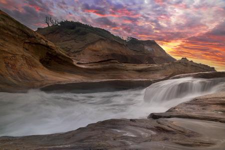 capes: Crashing Waves at Cape Kiwanda on the Oregon Coast at Sunset