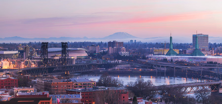 willamette: Portland Oregon Cityscape at Sunrise with Mt St Helens View along Willamette River Panorama