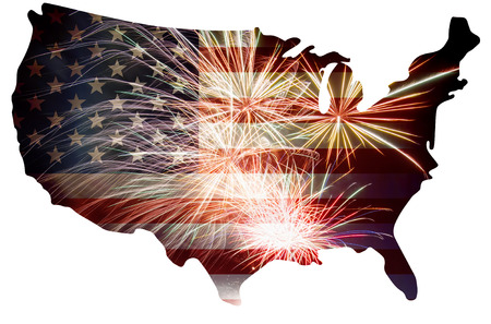 United States of America USA Flag in Map Silhouette Outline with Fireworks Background For 4th of July Illustration