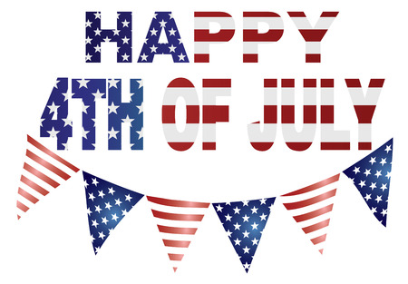 Happy 4th of July Independence Day with Triagular Banner Flags with USA Red White Blue Stars and Stripes Illustration