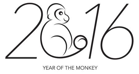 2016 Chines Lunar New Year van de Monkey Black and White Line Art met Tekst en Jaar Cijfers Illustratie Stock Illustratie