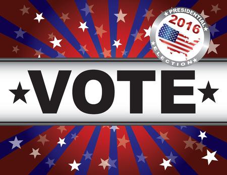 senate race: Vote Presidential Election 2016 Red White and Blue Stars Stripes Sun Rays Banner Illustration