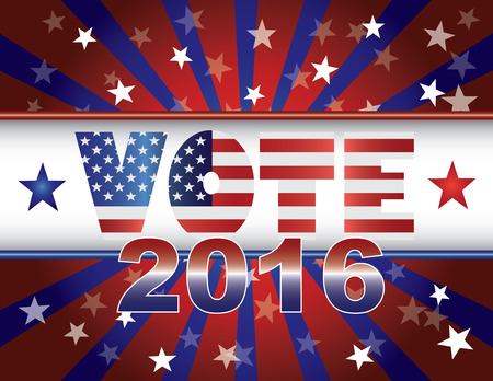 presidential election: Vote Presidential Election 2016 Red White and Blue Stars Stripes Sun Rays USA Flag Banner Illustration