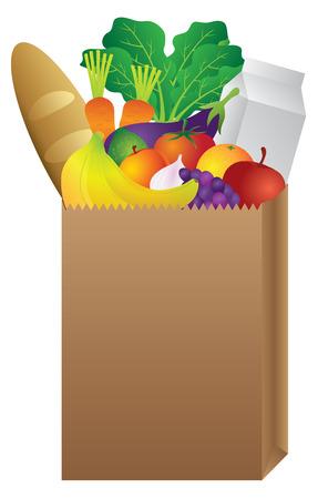 Grocery Brown Paper Bag of Food Vegetable Fruits Bread Milk Carton Color Illustration