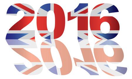 union jack flag: 2016 Great Britain Union Jack Flag Numbers Outline Isolated on White Background Illustration Illustration