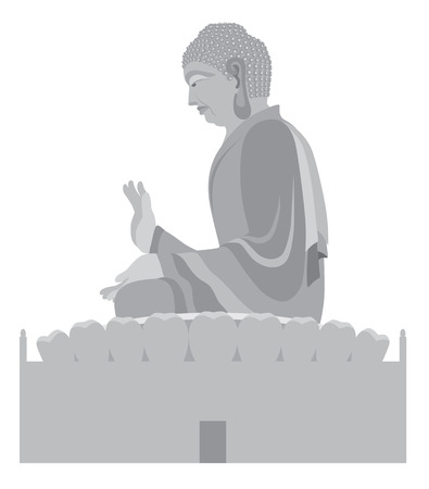 buddha lotus: Big Asian Buddha Sitting on Lotus Pad Statue Grayscale Illustration