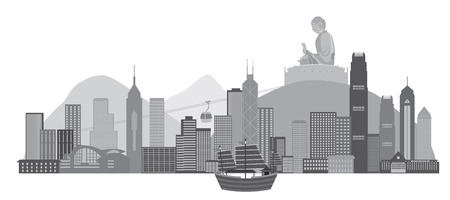 Hong Kong City Skyline and Big Buddha Statue Panorama Grayscale Isolated on White Background Illustration