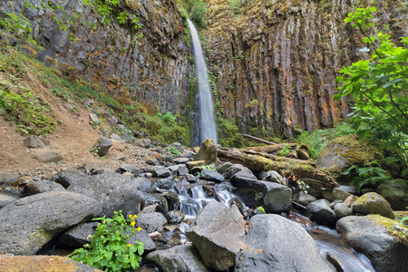 pct: Dry Creek Falls Along Pacific Crest Trail in Columbia River Gorge National Scenic Forest in Oregon