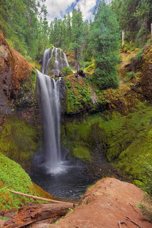 washington landscape: Falls Creek Falls Lower and Middle Tier at Gifford Pinchot National Forest in Washington State