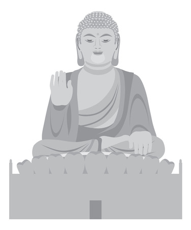 Big Asian Buddha Sitting on Lotus Pad Statue Front Facing Grayscale Illustration Ilustrace