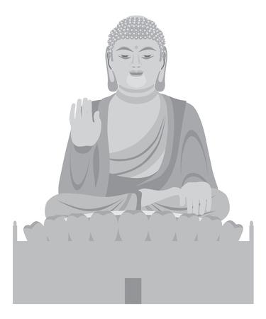 bouddha: Big Buddha Asian Assis sur Lotus Pad Statue front face Illustration en niveaux de gris