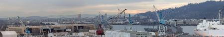 willamette: Repair and Maintenance Shipyard Facility in Portland Oregon Along Willamette River Panorama Stock Photo