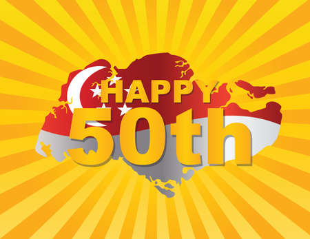 national day: Singapore 2015 Happy 50th National Day Flag in Country Map Silhouette on Sun Rays Background Illustration