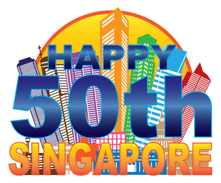Singapore 2015 Happy 50th National Day City Skyline Silhouette Outline in Circle Color Isolated on White Background Illustration
