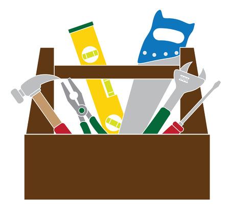herramientas carpinteria: Herramientas de Construcci�n Carpinter�a Martillo Nivel Llave Alicates Madera Sierra destornillador Caja de herramientas de color aislado en el fondo blanco Ilustraci�n de color