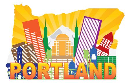 pacific northwest: Portland Oregon City Skyline with Mount Hood Hawthorne Bridge in Map Outline Color Illustration