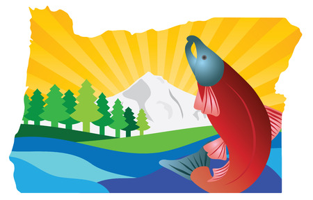 state of oregon: State of Oregon Scenic Landscape with Mount Hood Douglas Fir Trees Coho Salmon in Map Outline Color Illustration