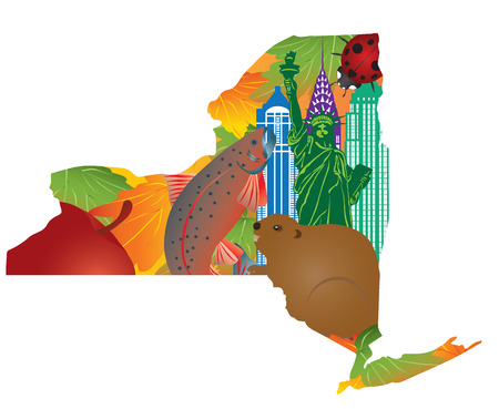 state: State of New York Official Symbols with Statue of Liberty Beaver Brook Trout Ladybug Big Apple Sugar Maple Leaves in Map Outline Color Illustration