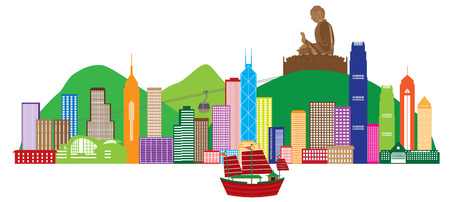 HONG KONG: Hong Kong City Skyline and Big Buddha Statue Panorama Color Isolated on White Background Illustration Illustration