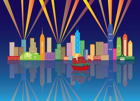 파란색 배경에 그림 레이저 광선 파노라마 색상과 홍콩 도시의 밤 스카이 라인 일러스트