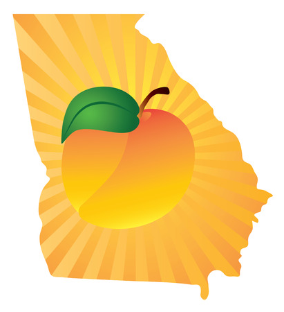 outline drawing: Georgia State with Official Symbol Peach Fruit in Map Silhouette Outline Color Illustration