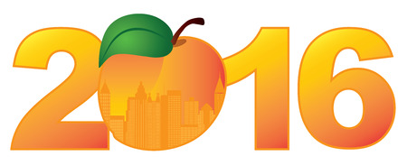 atlanta tourism: 2016 New Year Atlanta Georgia City Skyline in State Official Peach Fruit Outline Silhouette Numerals Color Illustration Illustration