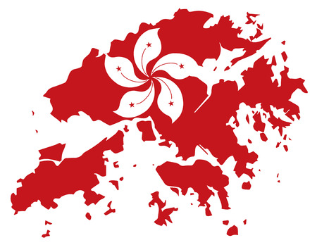hk: Hong Kong Flag in Red Map Outline Silhouette Illustration