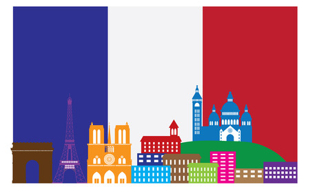 france: Paris France City Skyline Outline Silhouette in Flag of France Color Isolated on White Background Panorama Illustration