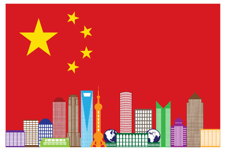 shanghai: Shanghai China City Skyline Outline Silhouette in China Flag Isolated on White Background Color Illustration Illustration