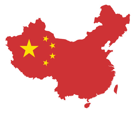 the republic of china: Peoples Republic of China Flag in Map Outline Silhouette isolated on White Background Illustration