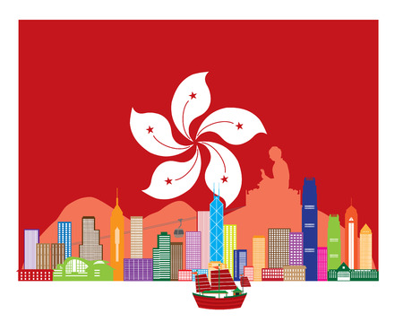 HONG KONG: Hong Kong City Skyline and Big Buddha Statue Panorama in Hong Kong Flag Background Color Illustration