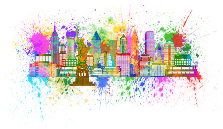 waterfront: New York City Panorama Skyline Paint Splatter Isolated on White Background Color Illustration