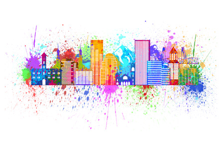 pacific northwest: Portland Oregon Outline Silhouette with City Skyline Downtown Panorama Paint Splatter Color Isolated on White Background Illustration