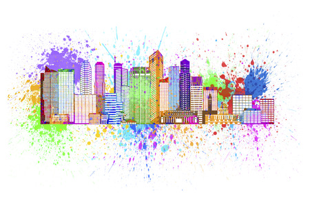 singapore city: Singapore City Skyline Silhouette Outline Panorama Color with Paint Splatter Isolated on White Background Illustration