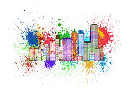 Seattle Washington Downtown City Skyline in Paint Splatter Colors Isolated on White Background Illustration Stock Photo