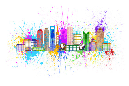world trade: Shanghai China City Skyline Outline Silhouette Color with Paint Splatter Isolated on White Background Illustration