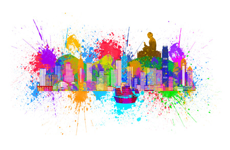 Hong Kong City Skyline and Big Buddha Statue Panorama Paint Splatter Color Isolated on White Background Illustration Banco de Imagens