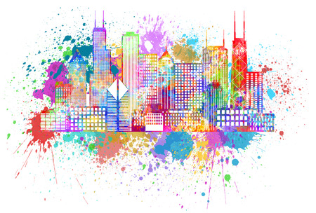 Chicago City Skyline Panorama Color Outline Silhouette with Paint Splatter Isolated on White Background Illustration 스톡 콘텐츠
