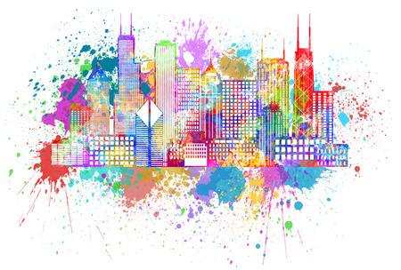 Chicago City Skyline Panorama Color het Silhouet met Verf ploetert geïsoleerd op een witte achtergrond afbeelding