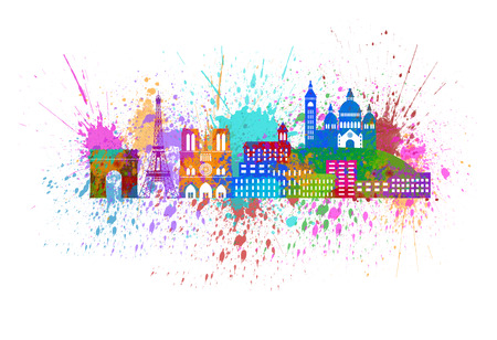 coeur: Paris France City Skyline Outline Silhouette Color with Abstract Paint Splatter Isolated on White Background Panorama Illustration