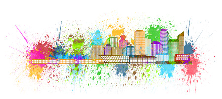 vancouver city: Vancouver British Columbia Canada City Skyline Paint Splatter Color Isolated on White Background Illustration Stock Photo
