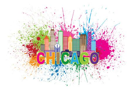 シカゴ市のスカイライン パノラマ アウトライン シルエット ペンキ スプラッター白背景イラストに分離された抽象的なカラフルなテキスト